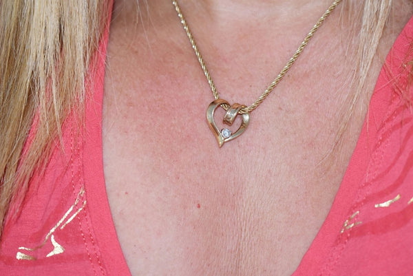 14k Gold Diamond Heart Pendant 3/4 inch Stunning