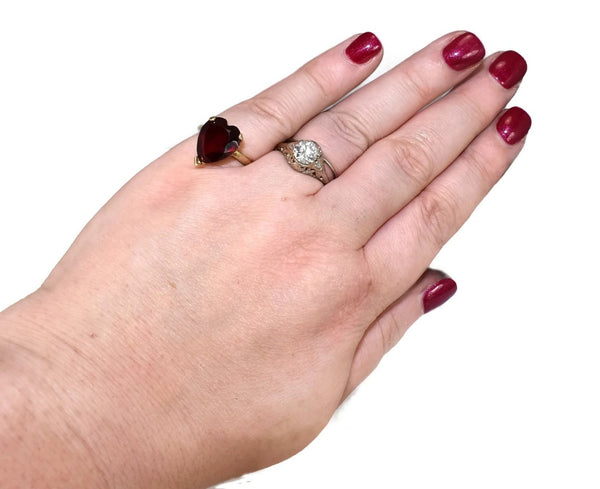 Vintage 14k Ruby Heart Engagement Ring 5.4 cts - Premier Estate Gallery 3