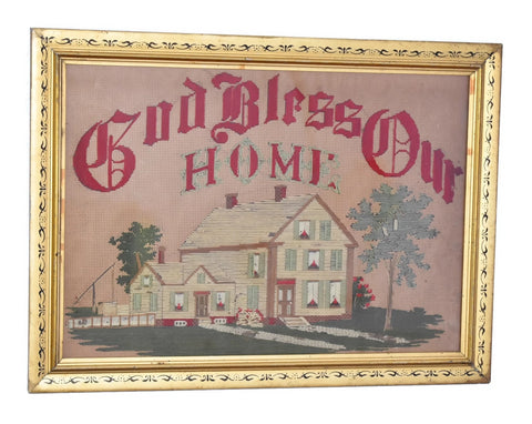 Antique Embroidery Gilt Framed God Bless Our Home with Farmhouse - Premier Estate Gallery