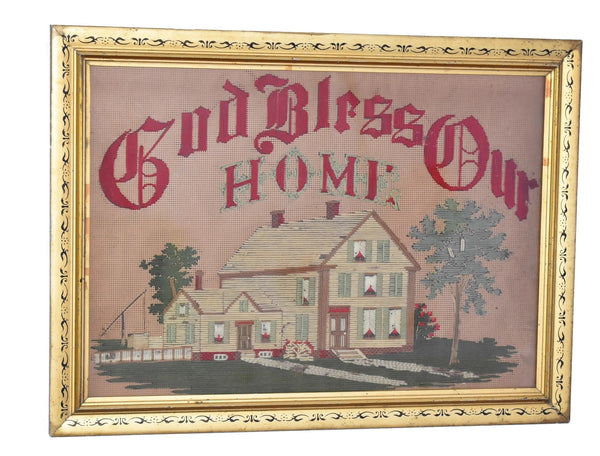 Antique Embroidery Gilt Framed God Bless Our Home with Farmhouse - Premier Estate Gallery 2