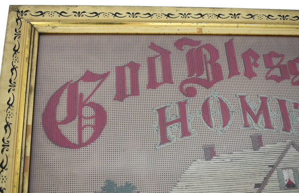 Antique Embroidery Gilt Framed God Bless Our Home with Farmhouse
