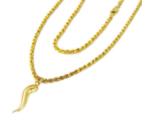 14k Gold Rope Chain with Italian Horn Pendant - Premier Estate Gallery  - 1