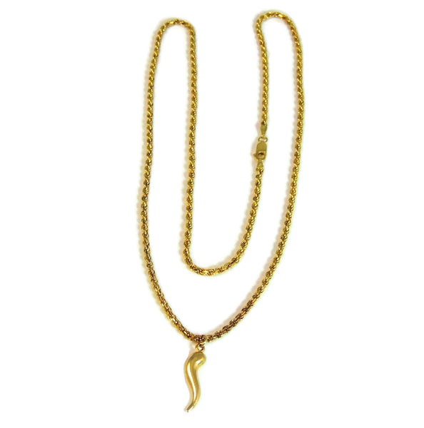 14k Gold Rope Chain with Italian Horn Pendant - Premier Estate Gallery  - 2