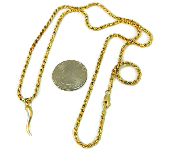 14k Gold Rope Chain with Italian Horn Pendant - Premier Estate Gallery  - 3