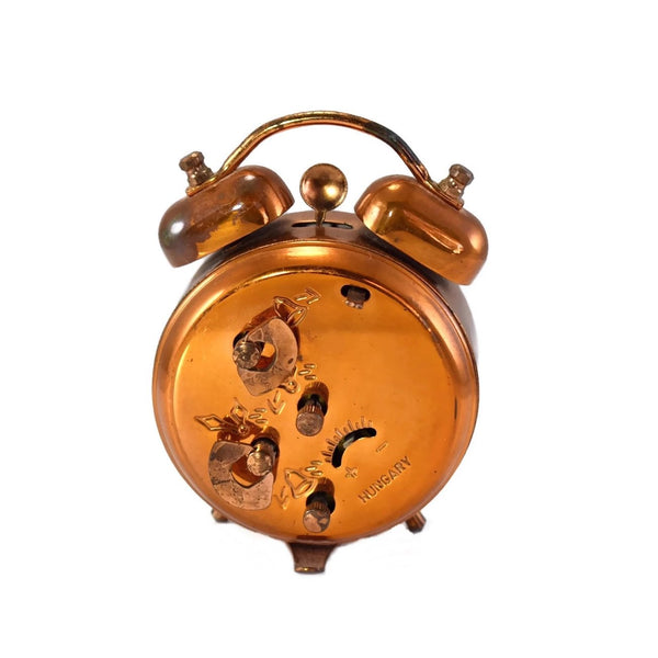 1960s Hungarian Alarm Clock Double Bell Copper Finish Travel Size Alarm