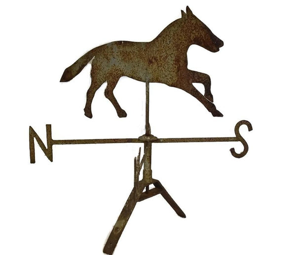 Antique Sheet Metal Horse Weathervane and Mount 19th Century Folk Art