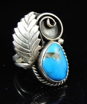 Silver NAVAJO Turquoise Leaf Ring Signed Morris - Premier Estate Gallery  - 1