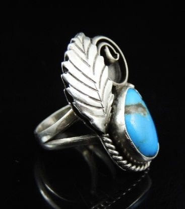 Silver NAVAJO Turquoise Leaf Ring Signed Morris - Premier Estate Gallery  - 2