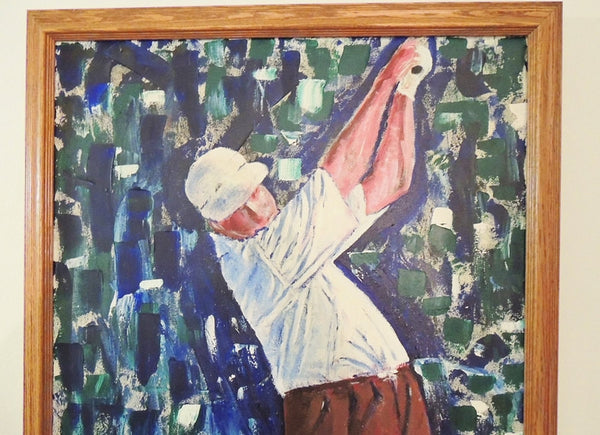 Large GOLFER Oil Painting  Over 3 Ft  Framed - Premier Estate Gallery  - 2