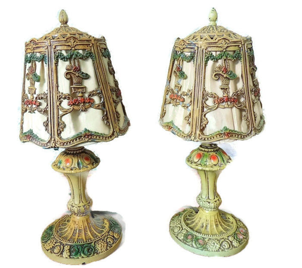 Ornate Iron Table Lamps Deco Era Cottage Chic