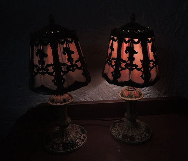 Ornate IronTable Lamps Deco Era Cottage Chic - Premier Estate Gallery  - 2