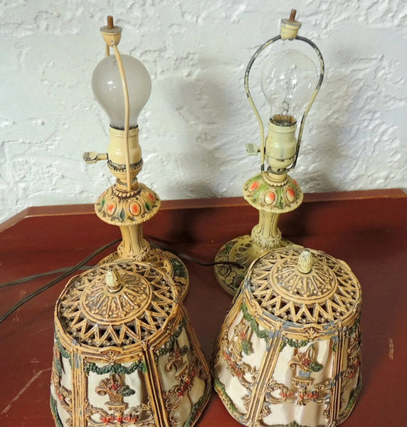 Ornate IronTable Lamps Deco Era Cottage Chic - Premier Estate Gallery  - 5
