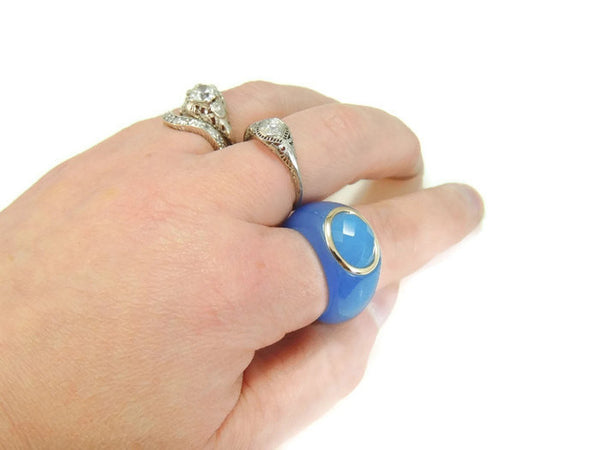 Blue Jade  14k Gold Ring - Premier Estate Gallery  - 4