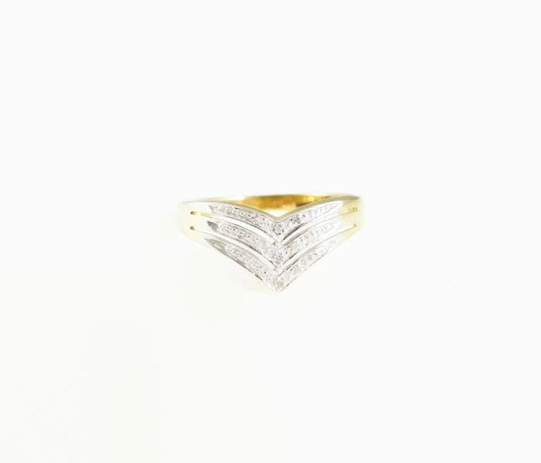 Diamond Chevron Ring Band 10k Gold - Premier Estate Gallery  - 2
