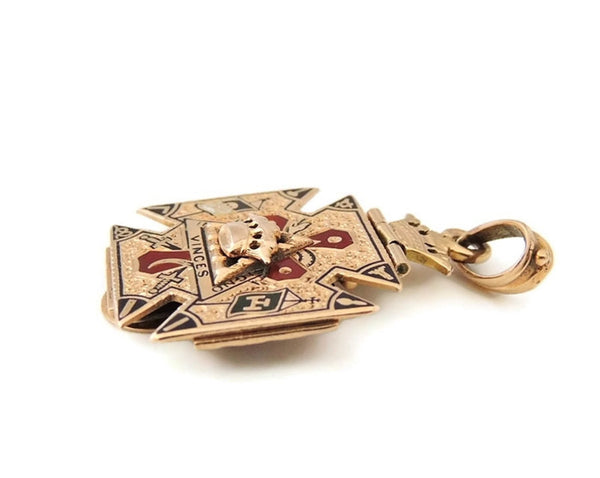 Antique Masonic Watch Fob 14k Gold Enamel 32nd Degree Mason's - Premier Estate Gallery  - 4