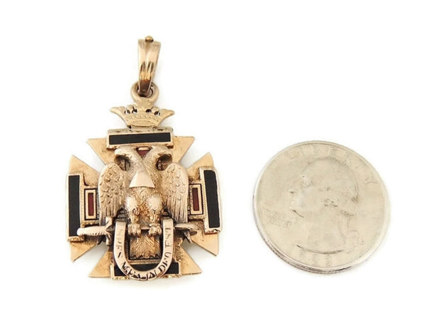 Antique Masonic Watch Fob 14k Gold Enamel 32nd Degree Mason's - Premier Estate Gallery  - 5