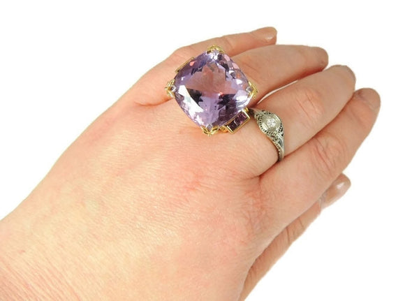 Amethyst Ring Sterling Gold 35 cts Impressive - Premier Estate Gallery  - 2