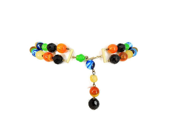 Art Glass Bead Crystal Necklace Italy Vintage - Premier Estate Gallery  - 3