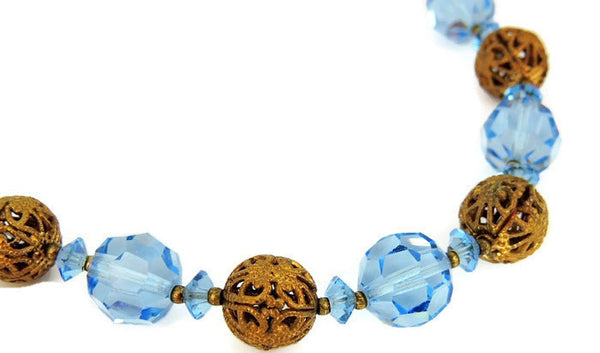 Deco Czech Glass Filigree Bead Necklace - Premier Estate Gallery  - 1