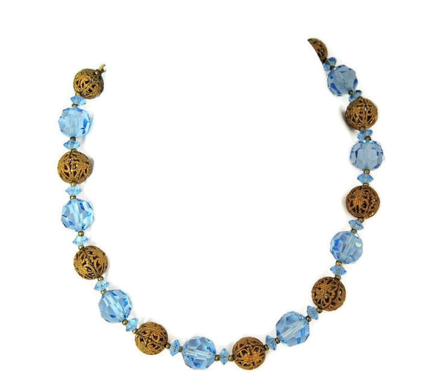 Deco Czech Glass Filigree Bead Necklace - Premier Estate Gallery  - 2