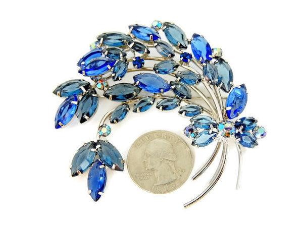 Blue Rhinestone Spray Brooch Vintage BIG - Premier Estate Gallery  - 3