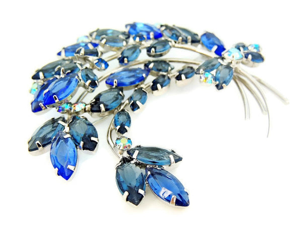 Blue Rhinestone Spray Brooch Vintage BIG - Premier Estate Gallery  - 4