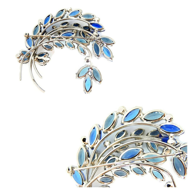 Blue Rhinestone Spray Brooch Vintage BIG - Premier Estate Gallery  - 5
