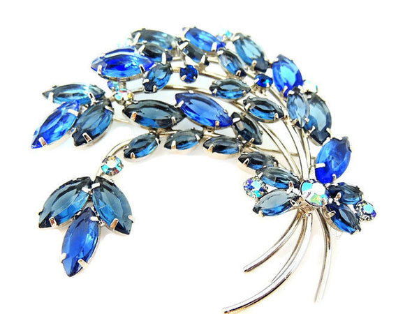 Blue Rhinestone Spray Brooch Vintage BIG - Premier Estate Gallery  - 1
