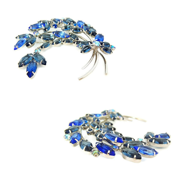 Blue Rhinestone Spray Brooch Vintage BIG - Premier Estate Gallery  - 2
