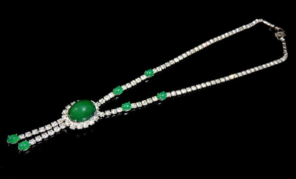 Emerald Glass Cabochon Rhinestone Necklace Vintage - Premier Estate Gallery  - 2
