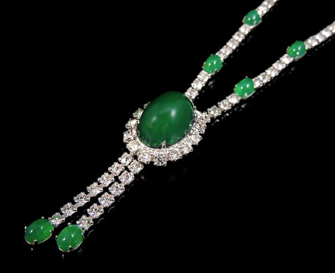 Emerald Glass Cabochon Rhinestone Necklace Vintage - Premier Estate Gallery  - 1