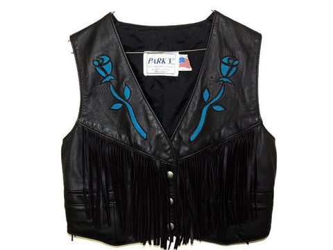 Leather Fringed Vest Inset Suede Rose Vintage - Premier Estate Gallery  - 1
