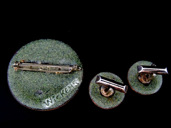 Vintage Enamel Cufflinks Brooch Set Flowers - Premier Estate Gallery  - 4