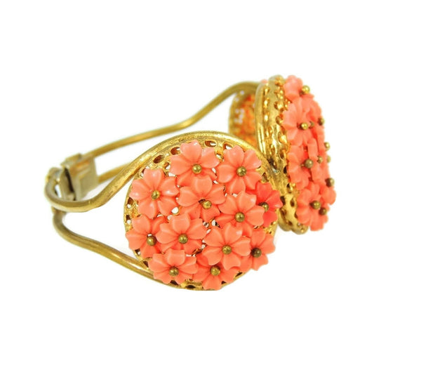Vintage Hinged Bangle Cuff Bracelet Flower Bouquets Coral Peach - Premier Estate Gallery  - 2