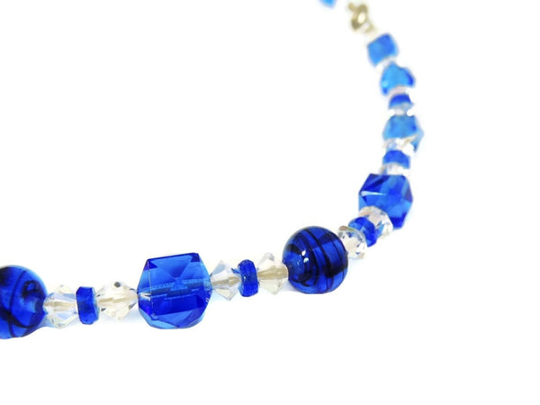 Deco Blue Czech Glass Crystal Necklace - Premier Estate Gallery  - 4