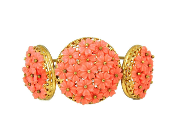 Vintage Hinged Bangle Cuff Bracelet Flower Bouquets Coral Peach - Premier Estate Gallery  - 6