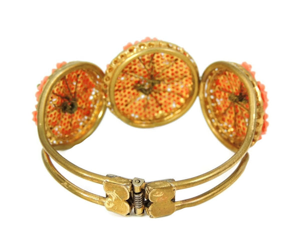 Vintage Hinged Bangle Cuff Bracelet Flower Bouquets Coral Peach - Premier Estate Gallery  - 3