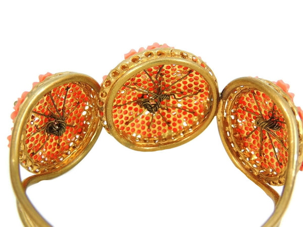 Vintage Hinged Bangle Cuff Bracelet Flower Bouquets Coral Peach - Premier Estate Gallery  - 4
