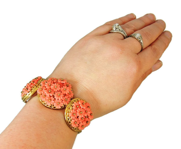 Vintage Hinged Bangle Cuff Bracelet Flower Bouquets Coral Peach - Premier Estate Gallery  - 5