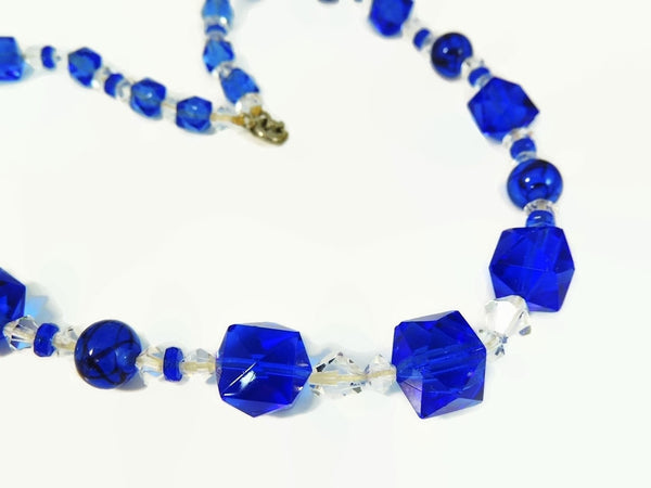 Deco Blue Czech Glass Crystal Necklace - Premier Estate Gallery  - 3