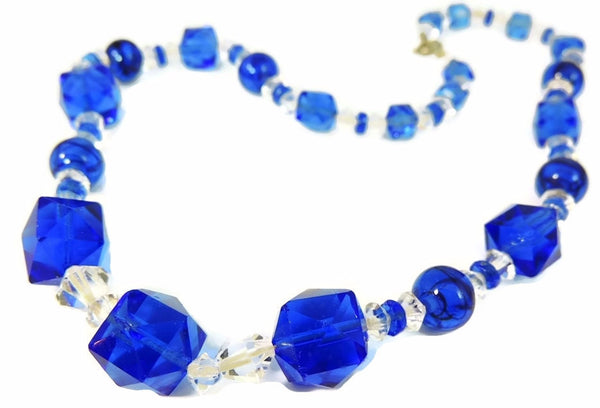 Deco Blue Czech Glass Crystal Necklace - Premier Estate Gallery  - 1