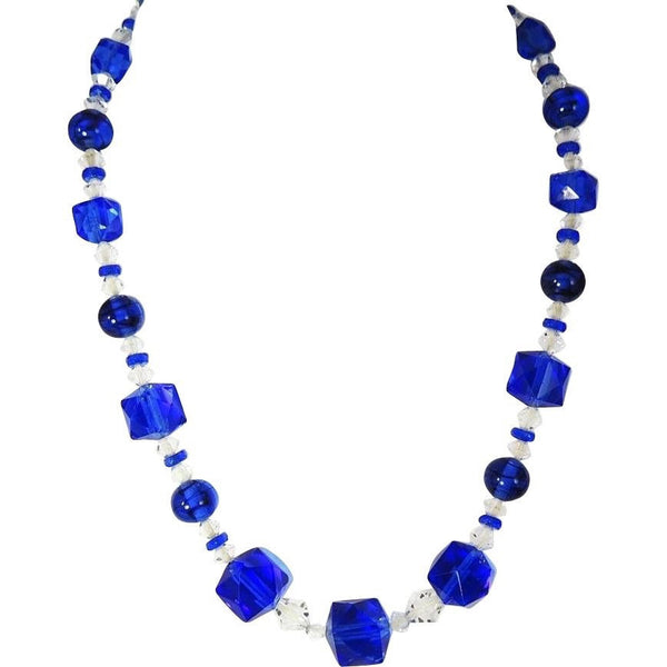 Deco Blue Czech Glass Crystal Necklace - Premier Estate Gallery  - 2
