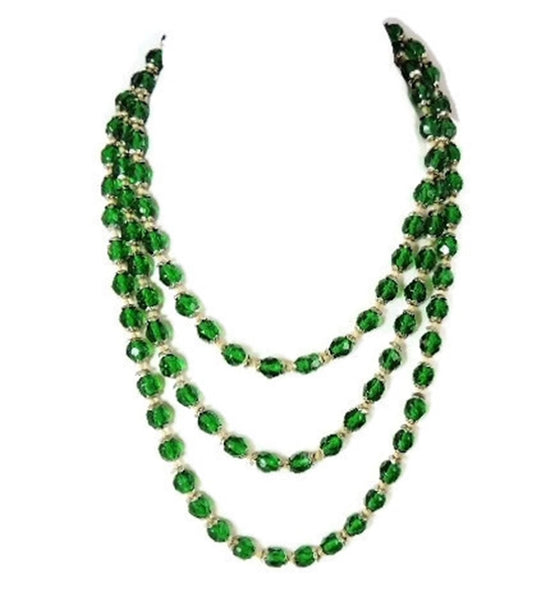 Deco Czech Glass Crystal Bead Necklace Emerald Green - Premier Estate Gallery  - 2