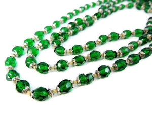 Deco Czech Glass Crystal Bead Necklace Emerald Green - Premier Estate Gallery  - 1