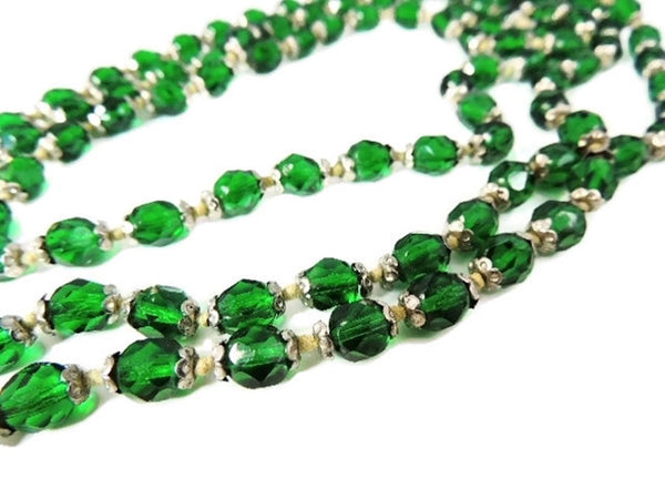Deco Czech Glass Crystal Bead Necklace Emerald Green - Premier Estate Gallery  - 3