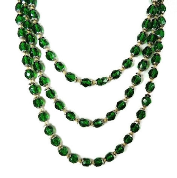 Deco Czech Glass Crystal Bead Necklace Emerald Green - Premier Estate Gallery  - 4