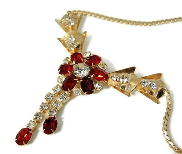 Ruby Red Rhinestone Flower Necklace Tassel Scitarelli Vintage - Premier Estate Gallery  - 1