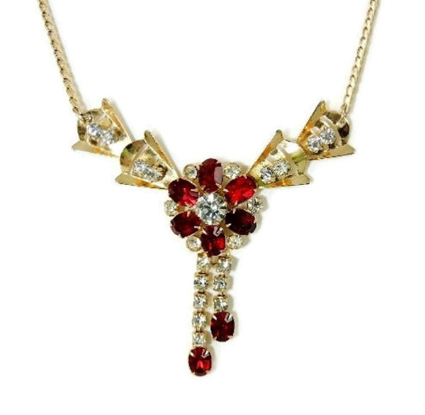 Ruby Red Rhinestone Flower Necklace Tassel Scitarelli Vintage - Premier Estate Gallery  - 2