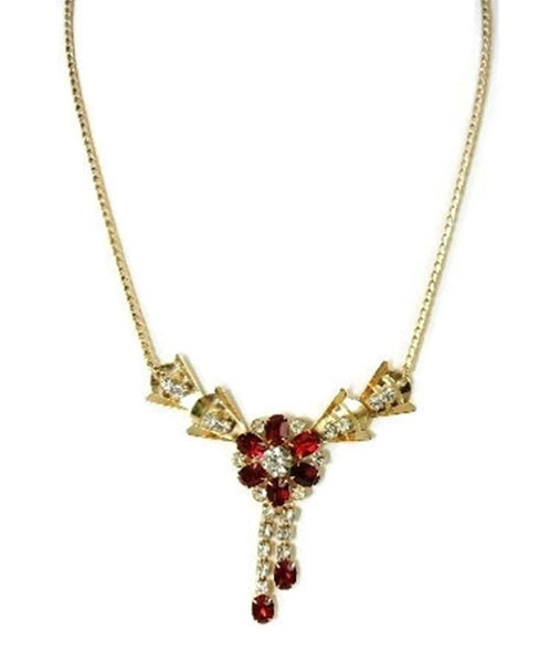 Ruby Red Rhinestone Flower Necklace Tassel Scitarelli Vintage - Premier Estate Gallery  - 3