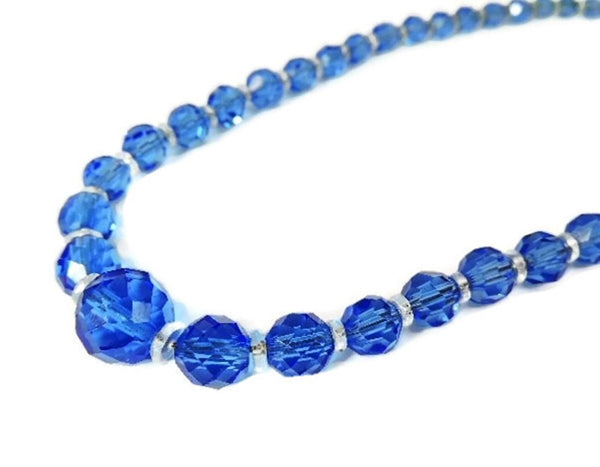 Deco Czech Crystal Bead Necklace Cornflower Blue - Premier Estate Gallery  - 1